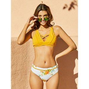 NWT Cupshe Yellow Floral Bikini